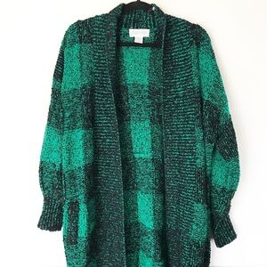 | Vintage | buffalo check duster sweater cardigan